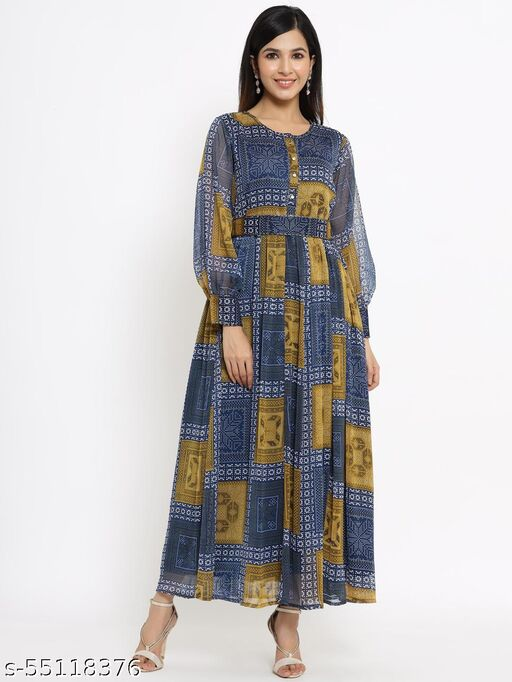 Juniper Navy Alphin Chiffon  Flared Printed Dress With Tie-up Blet