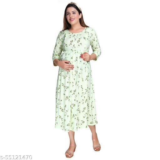 Mamma's Maternity® Women's Neon Yellow Printed Knee Length Maternity/Feeding/Nursing Dress