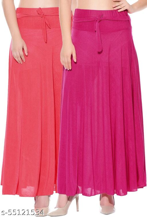 Mixcult Combo of 2 Pcs Red Pink Solid Crepe Full Length Flared Skirts
