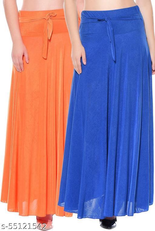 Mixcult Combo of 2 Pcs Orange Blue Solid Crepe Full Length Flared Skirts