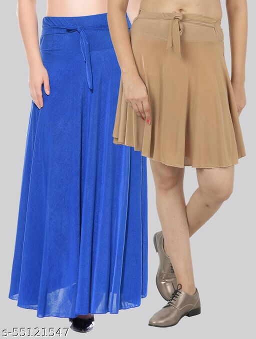 Mixcult Combo of 2 Pcs  Blue Long & D-Beige Small Solid Crepe Flared Skirts