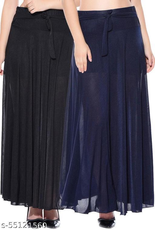 Combo of 2 Pcs Black Blue Solid Crepe Full Length Flared Skirts