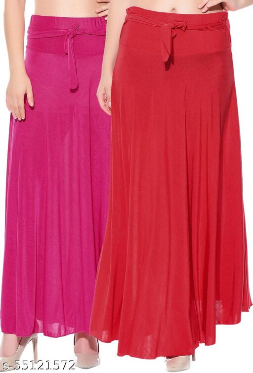 Mixcult Combo of 2 Pcs Pink Red Solid Crepe Full Length Flared Skirts