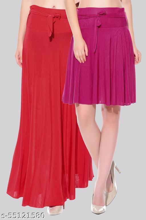 Mixcult Women Crepe fabric Solid Combo 2 Skirt