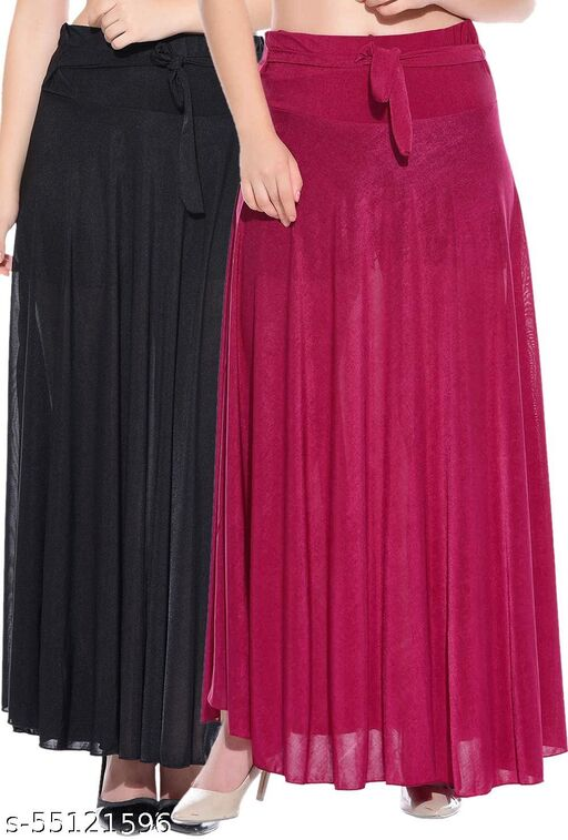 Mixcult Combo of 2 Pcs Black Pink Solid Crepe Full Length Flared Skirts