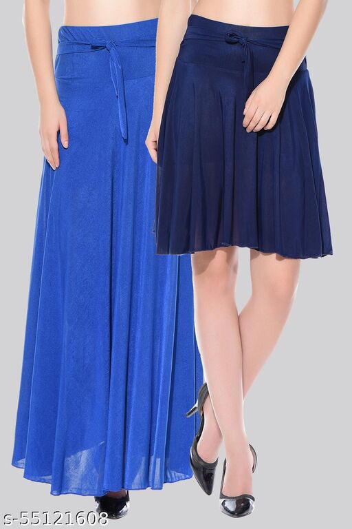 Mixcult Combo of 2 Pcs  Blue Long & D-Blue Small Solid Crepe Flared Skirts