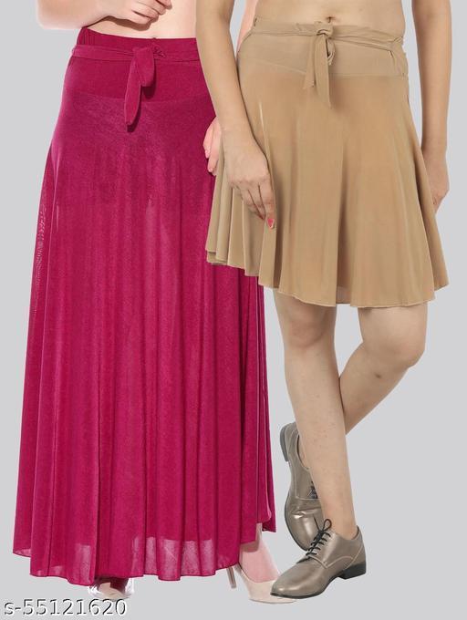 Mixcult Women Crepe Solid Combo 2 Skirt