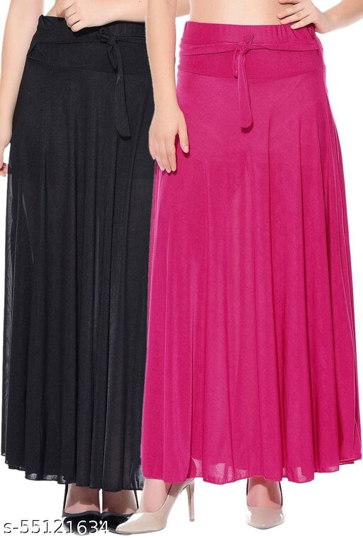 Mixcult Exclusive Combo of 2 Pcs Black Pink Solid Crepe Full Length Flared Skirts