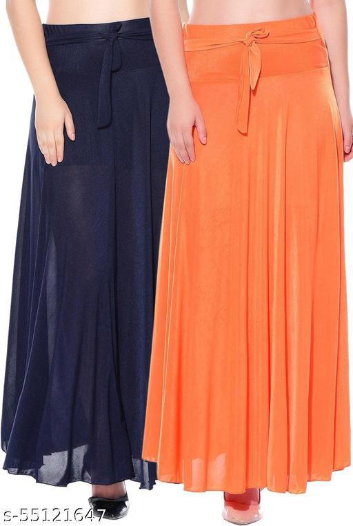 Mixcult Combo of 2 Pcs Blue Orange Solid Crepe Full Length Flared Skirts