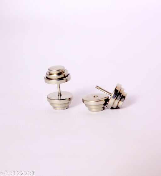 1 PAIR OF DUMBLE SHAPPED MEN BOY EARRING STUDS STYLISH CLASSY LOOK GIVES YOU THE BEAUTIFUL FEEL