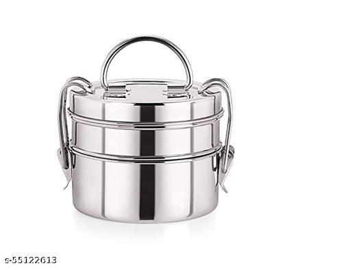 Stainless steel Heavy duty fancy  lunch box 2 tier