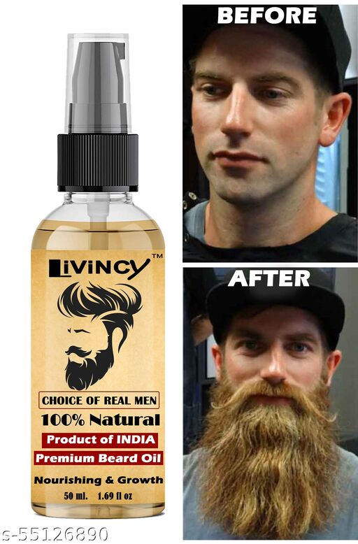 Livincy PLATINUM Beard and Mooch Growth oil for Specially Men and boys(Gift you face with a great beard)(MAKE NEW STYLE OF BEARD) Non-Sticky | Pleasant Fragrance | Provides Shine to Beard (50ML)