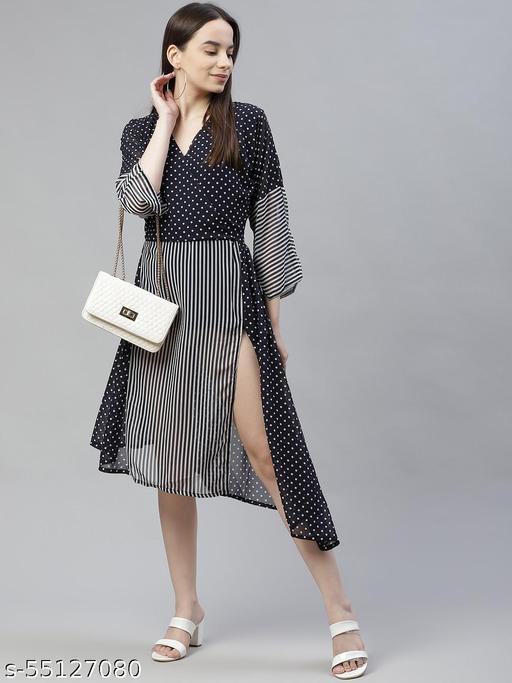 Rivi Women's Blue Georgette Maxi Dress
