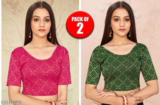 Women Lycra Cotton Readymade Stitched Stretchable Blouse (PACK OF 2)