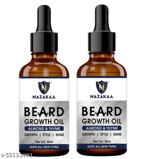 NAZAKAA Beard Growth Oil For Patchy Beard, Growth, Shine, And Hair Growth For Men-30ml-Packof-2-Bottle-(60ml)