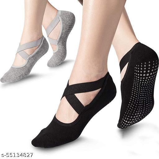 Cotton Yoga Socks Sport Fitness Half Toe Ankle Grip Gym No-Slip Socks for Pilates, Barre, Ballet, Barefoot Workout