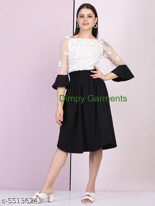 Dimpy Garments Black White Stretch Net Butterfly Midi Dress
