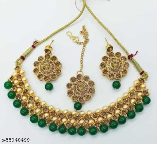 Metal, Alloy, Copper Gold-plated Jewel Set(Green, Gold)