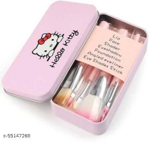 Hello Kitty Brush set pink [pack of 7] different brush for different applies  (Pack of 7)