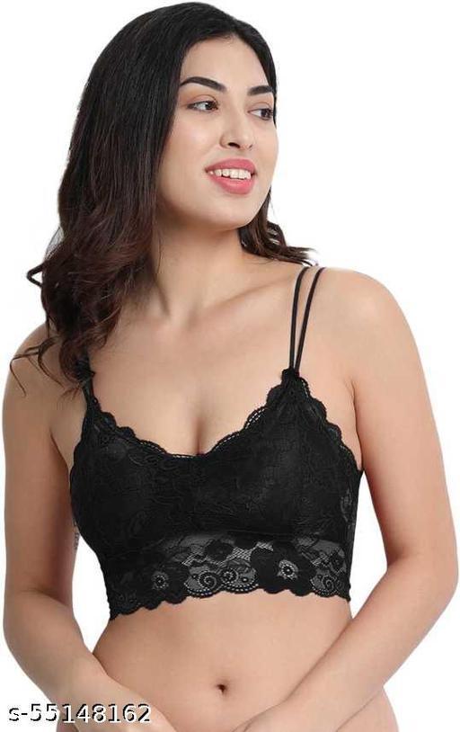 Women Bralette Lightly Padded Bra  (Black)