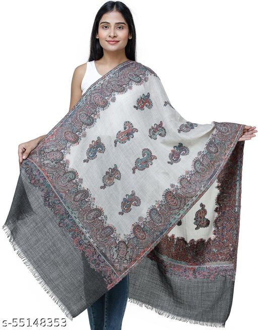 Exotic India Jamawar Stole from Amritsar with Multi-Color Paisleys