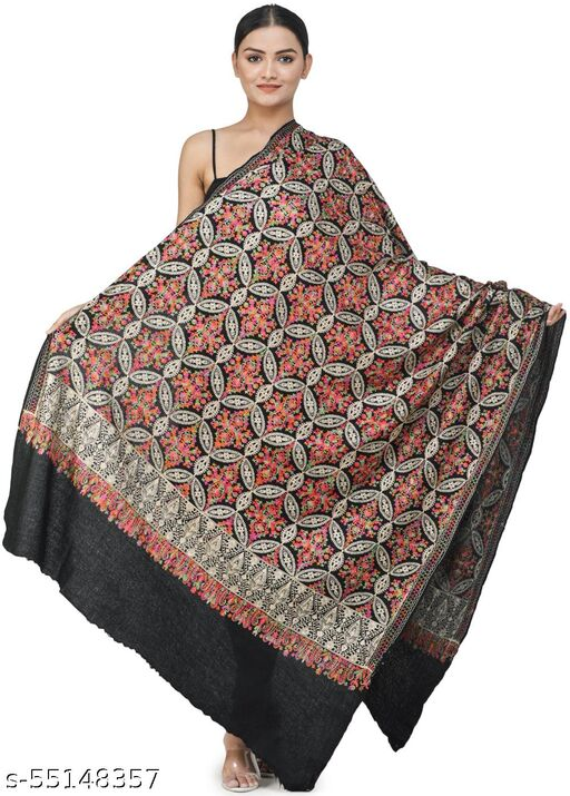 Exotic India Meteorite-Black Ari Embroidered Shawl from Amritsar with Gold and Multicolor Floral Vines