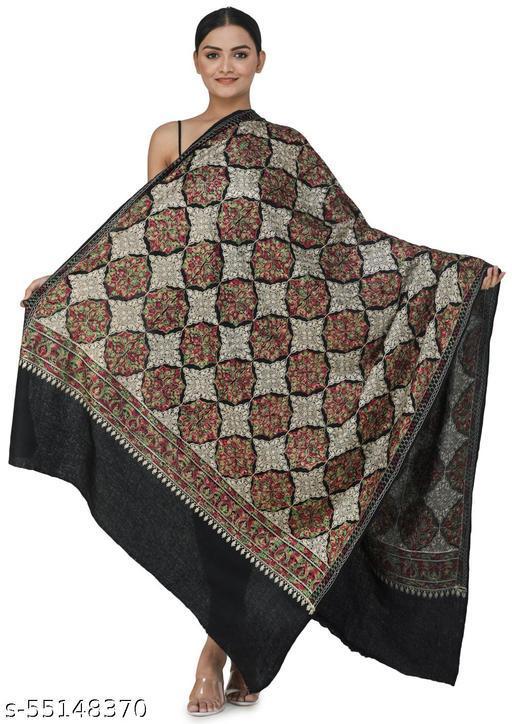 Exotic India Phantom-Black Ari Embroidered Shawl from Amritsar with Multi-Colored Mandala Patterns