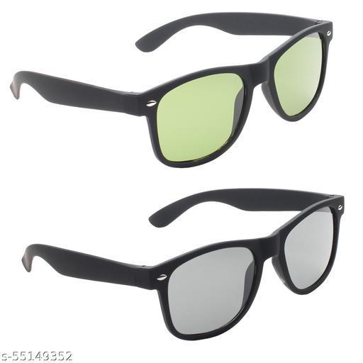 UV Protection, Polarized Wayfarer Sunglasses (52)  (For Men & Women, Green Black)
