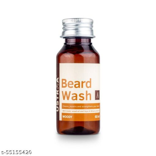 Ustraa Beard Wash for Cleans, Repairs and Strengthens Your Beard | Woody | 60ml