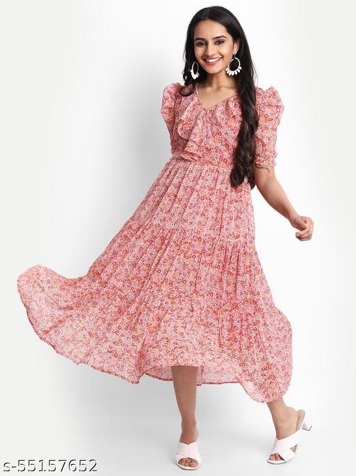 Women pink floral print tiered ruffle midi dress