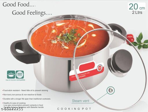 Cook & Serve Kadhai with Glass Lid,Induction Base