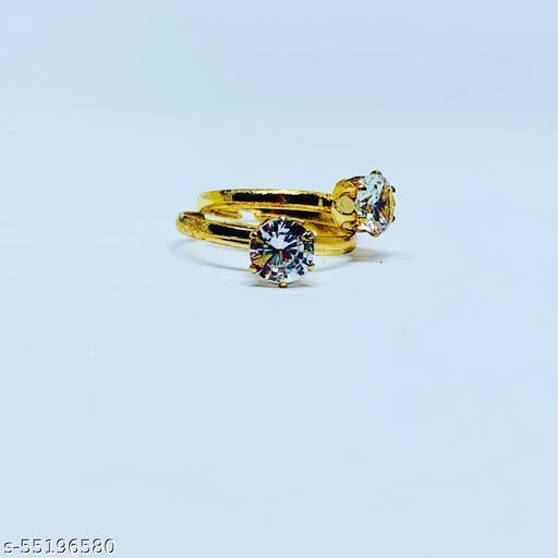 Stylish Gold Plated American Diamond Adjustable Crystal Ring