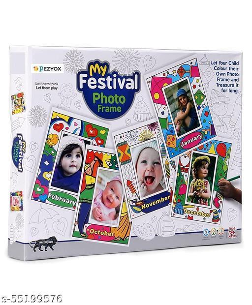 PEZYOX My Festival Photo Frame Calendar - White 1 Photo Frame Calendar,12 Different theme papers,12 Sketch Pens.
