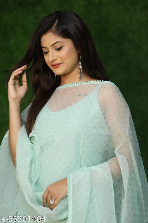 OUR MODELING Beautiful pair of mint green snaghetti kurta and pants pair with duppta *