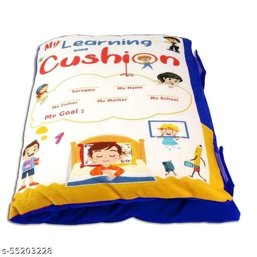 HETU ENTERPRISE Kid's Learning Cushion Pillow Cum Book with English and Hindi Alphabets, Numbers, Animals NamesVelvet Cushion Book for Interactive Learning for Kids (Language Hindi and English)(Blue)