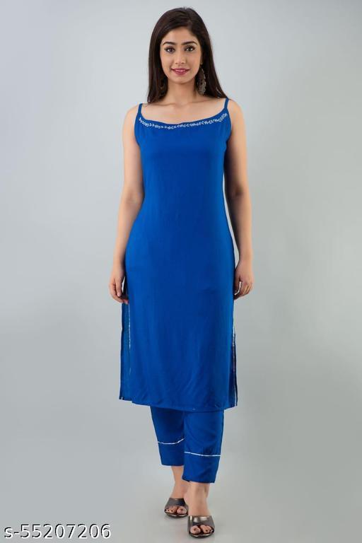 Women Rayon sleevless solid Kurti and pant set