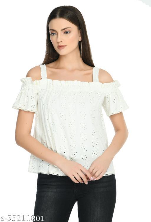 omen White Solid Bardot Pure Cotton Top