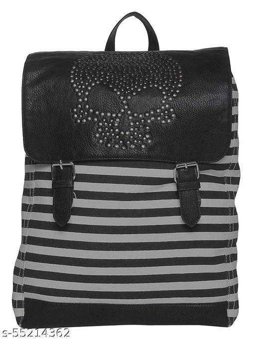 Urbanity Unisex Rivet Stripe Leather Handmade Travel Messenger Casual School College Book Drawstring Backpack for Laptop (White, Large, 16 Inch)