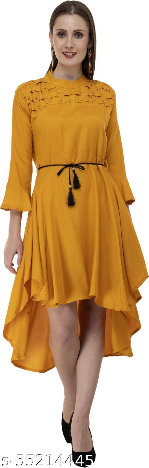 Mixcult Women High Low Yellow Dress
