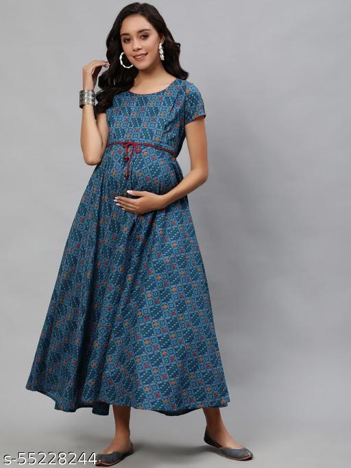 Blue Patala Printed Maternity Maxi Dress