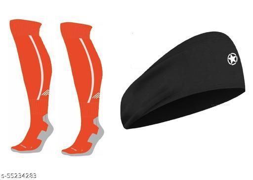 Bamboo Football Socks, Stockings for Men & Women, Knee High Length Superior Grip for Shin Guard, Anti Slip Blister Protection Anti Odour ( Orange ) With Head Band