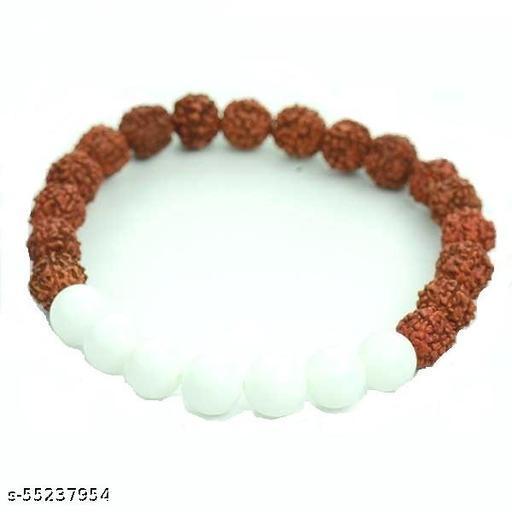 Rudraksha And White Agate Bracelet