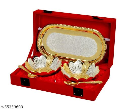 """Silver & Gold Plated Aluminium Bowl 3.5"""" with Two Spoon 4"""" with Tray 8"""" of 5 Pcs. Cutlery Sets"""