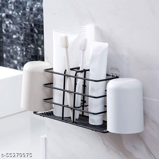 Stainless Steel Bathroom Toothbrush Holder Shelf Organizer Storage Hanging Shower Caddy Rack (Black)