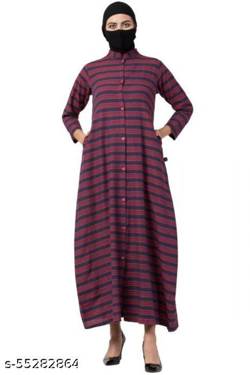 FRONT OPEN POLY COTTON ABAYA