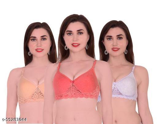 Xbye Women Bralette Lightly Padded Bras (Gold,Pink,Grey)