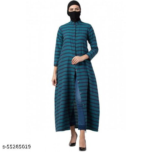 FRONT OPEN ABAYA IN POLY COTTON