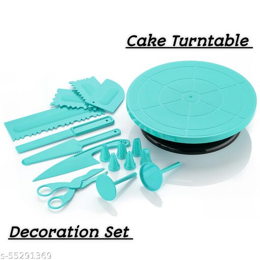 Connex 360 Degree Rotating Revolving Cake Turn Table Plastic Cake Server + Blue All in One Plastic Cake Decoration Tools Combo For Making And Baking Cake At Your Home, Kitchen And Bakery (Blue, Pack Of 2)