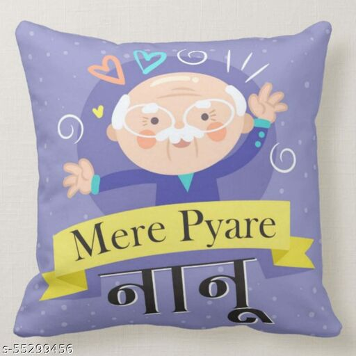 FUNKY STORE Mere Pyare Nanu Theam Printed Glazed Cotton Cushion Cover (12x12 inches, Multicolour)