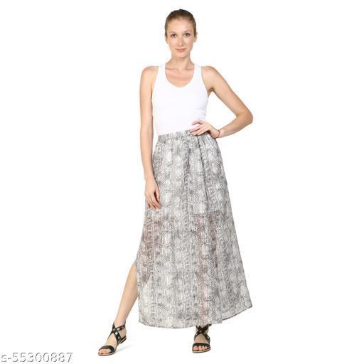 DRIRO Women Printed Straight Poly Chiffon Lurex Stripe Skirt (Drps069_Grey)